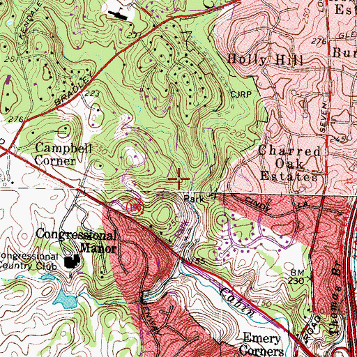 Topographic Map of Cabin John Creek Stream Valley Park, MD