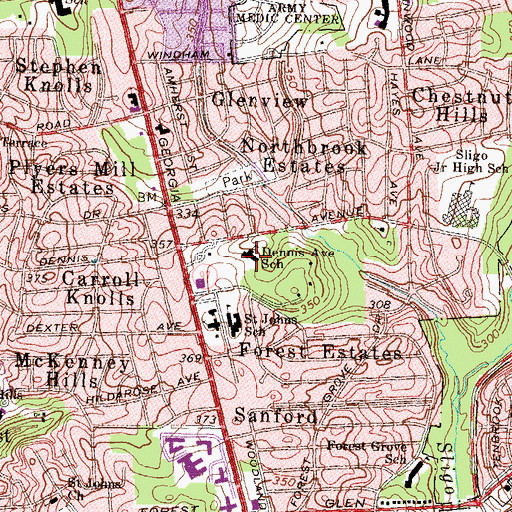 Topographic Map of Dennis Avenue Elementary School (historical), MD