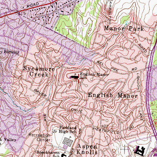Topographic Map of English Manor Elementary School (historical), MD