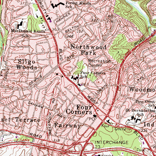 Topographic Map of Four Corners Elementary School (historical), MD