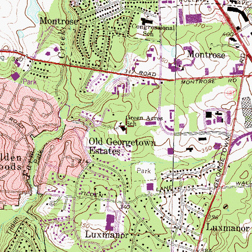 Topographic Map of Green Acres School, MD