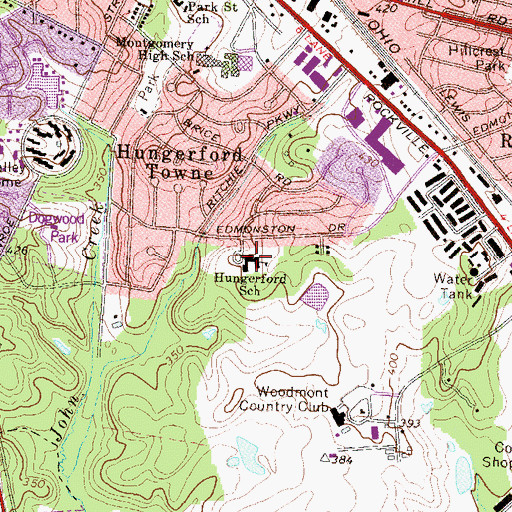 Topographic Map of Hungerford Park Elementary School (historical), MD