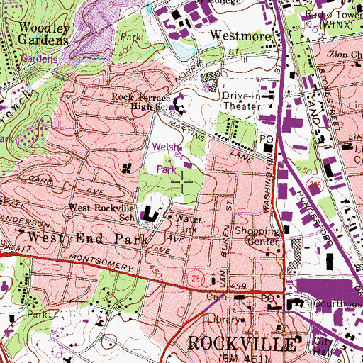 Topographic Map of Welsh Park, MD