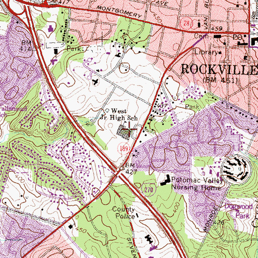 Topographic Map of Julius West Middle School, MD