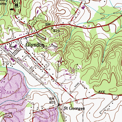 Topographic Map of Camp Glyndon, MD
