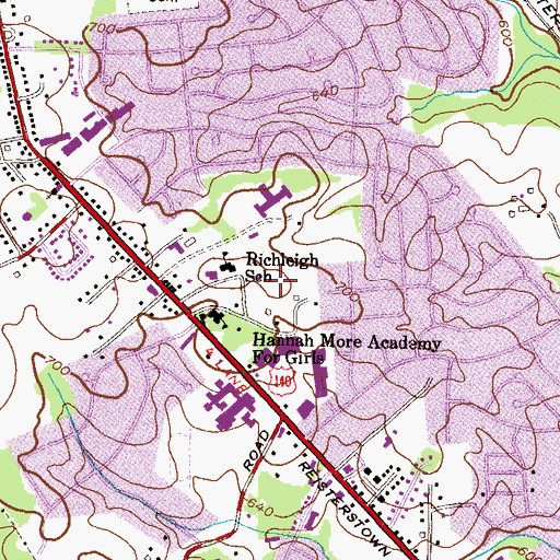Topographic Map of Hannah More Park, MD