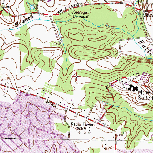 Topographic Map of Olde Mill Estates, MD