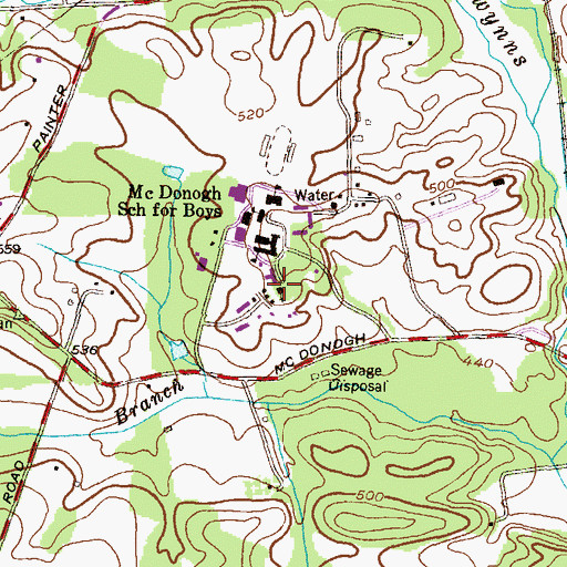 Topographic Map of Taggert Memorial Chapel, MD