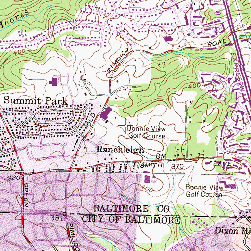 Topographic Map of Bare Hills, MD