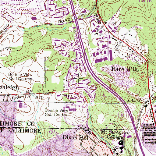 Topographic Map of Bonnie Ridge, MD