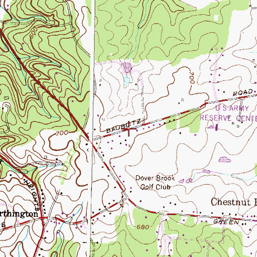 Topographic Map of Chestnut Ridge, MD