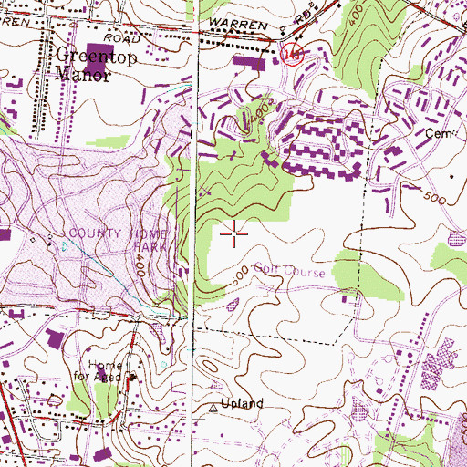 Topographic Map of County Home Park, MD