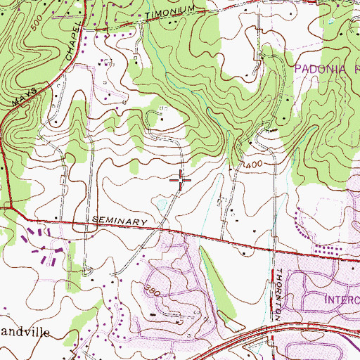 Topographic Map of Hillside at Seminary, MD