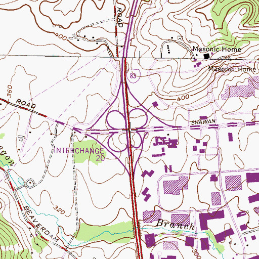 Topographic Map of Interchange 20, MD