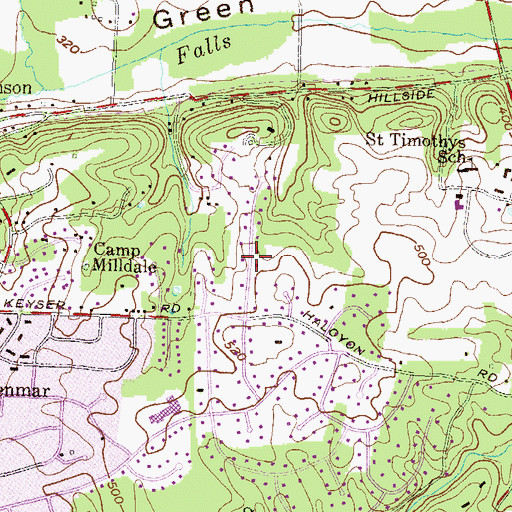 Topographic Map of Keyser Woods, MD