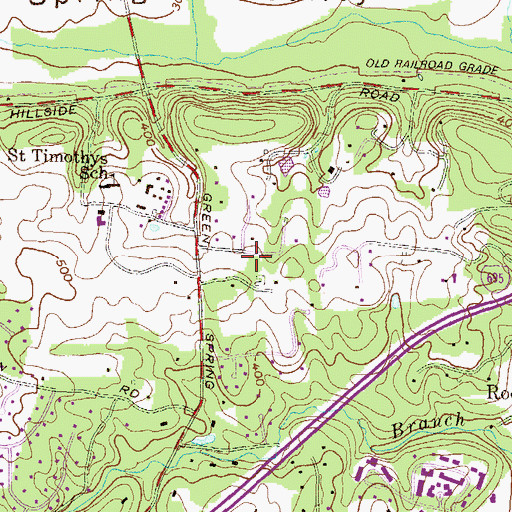 Topographic Map of Knollcrest Farms, MD