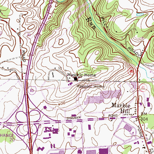 Topographic Map of Masonic Home of Maryland, MD