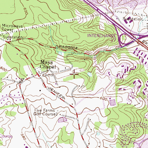 Topographic Map of Mays Chapel Village, MD