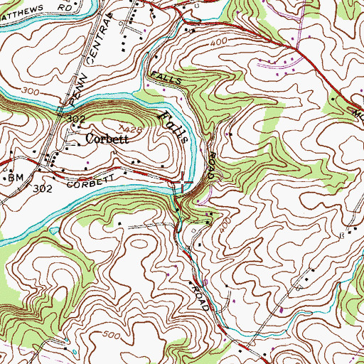 Topographic Map of Merryman Park, MD