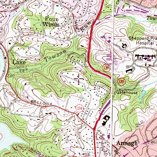 Topographic Map of Murray Hill, MD