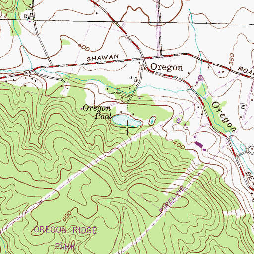 Topographic Map of Oregon Ore Bank, MD