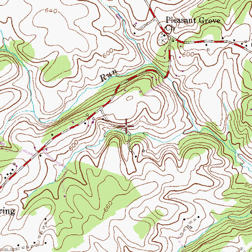 Topographic Map of Pleasant Run, MD