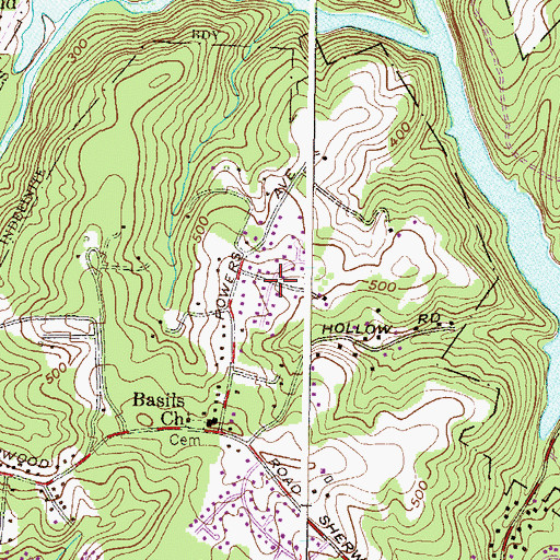 Topographic Map of Sherwood Hills, MD