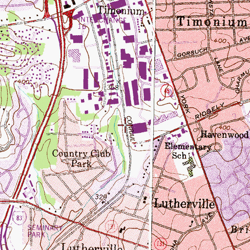 Topographic Map of West Lutherville Park, MD