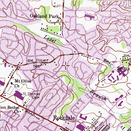 Topographic Map of Crown Estates Park, MD
