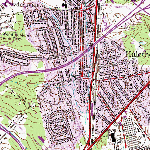 Topographic Map of Halethorpe Community Church, MD