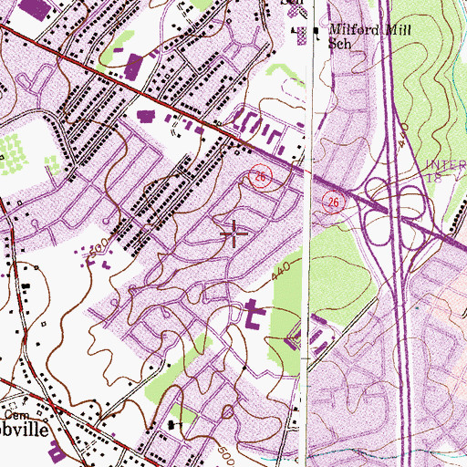 Topographic Map of Lynn Acres, MD