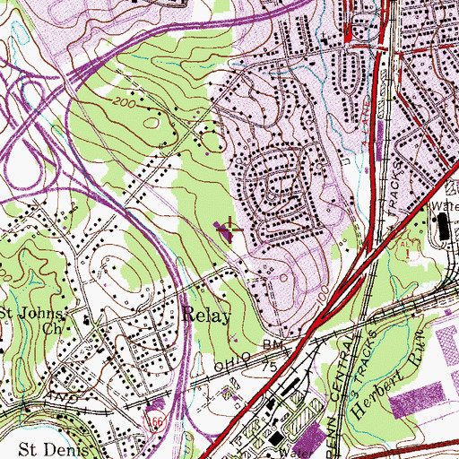 Topographic Map of Relay Elementary School, MD