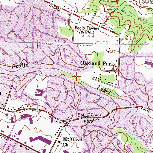 Topographic Map of Scotts Level Park, MD