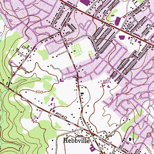 Topographic Map of Temple Emanuel, MD