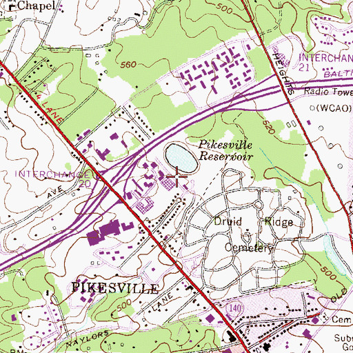 Topographic Map of Pikesville Reservoir Dam, MD