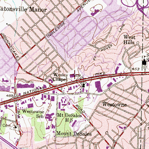 Topographic Map of Ridgeway Shopping Center, MD
