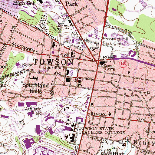 Topographic Map of Towson Post Office, MD