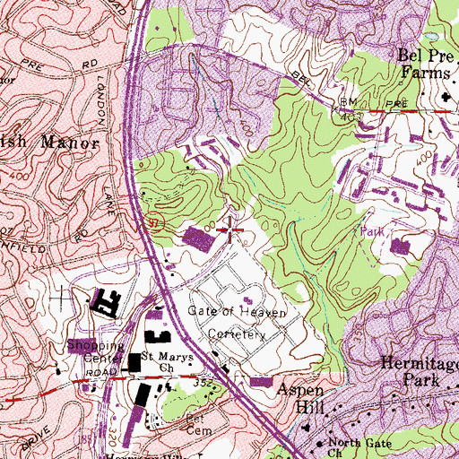 Topographic Map of Aspen Post Office, MD