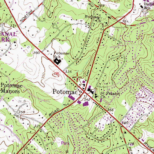 Topographic Map of Potomac Post Office, MD