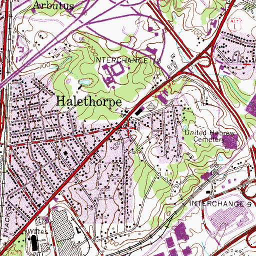 Topographic Map of Halethorpe, MD