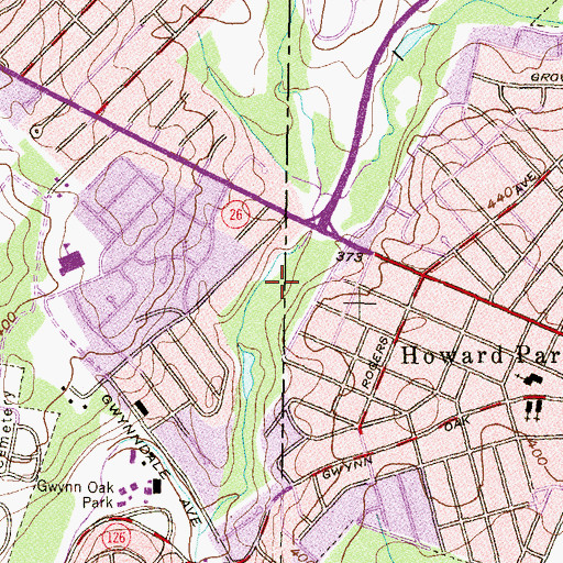 Topographic Map of Powder Mill Park, MD