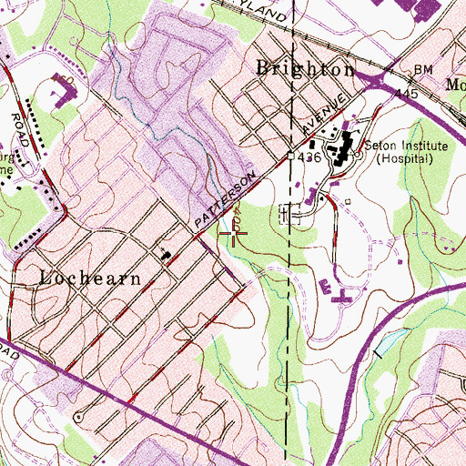Topographic Map of Powder Mill Run Park, MD