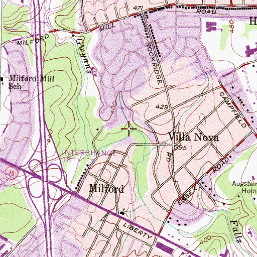 Topographic Map of Villa Nova Park, MD