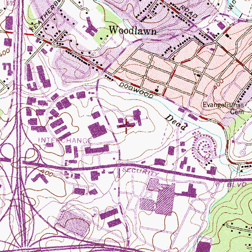 Topographic Map of Woodlawn High Center, MD