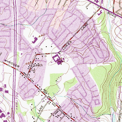 Topographic Map of Woodlawn Middle School, MD