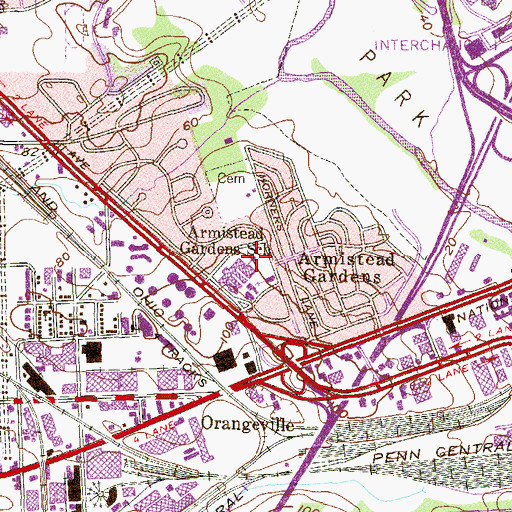 Topographic Map of Armistead Gardens Elementary / Middle School, MD