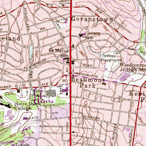 Topographic Map of Beaumont Park, MD