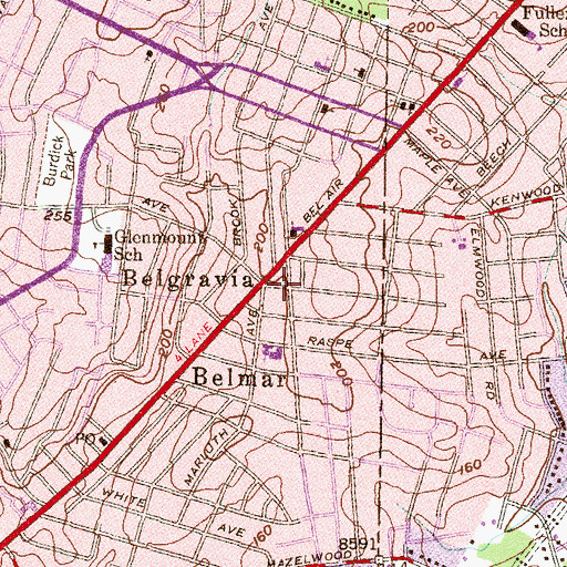 Topographic Map of Belgravia, MD
