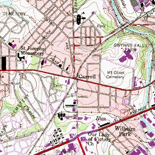 Topographic Map of Carroll, MD