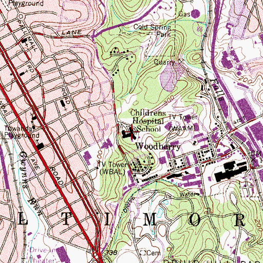 Topographic Map of Childrens Hospital School, MD